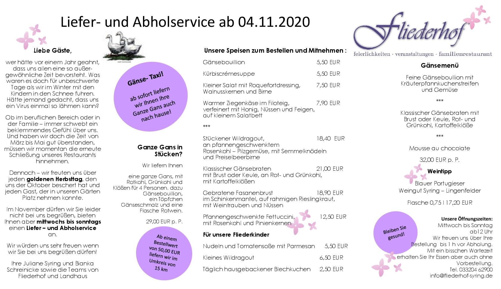Speisekarte Fliederhof