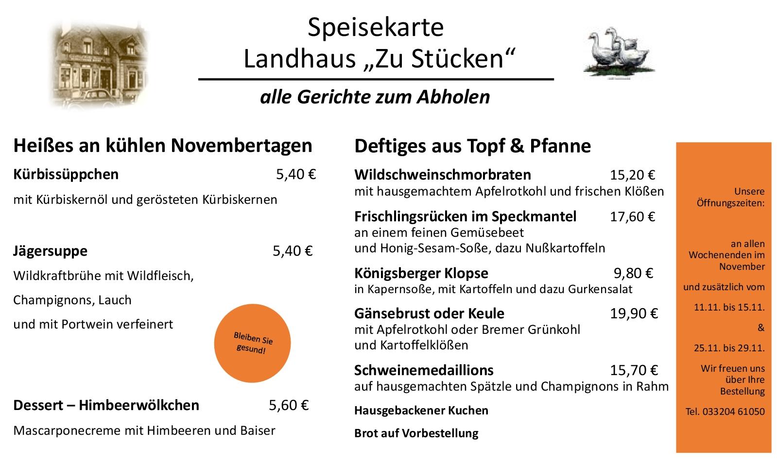 """Speisekarte Landhaus """"Zu Stücken"""""""